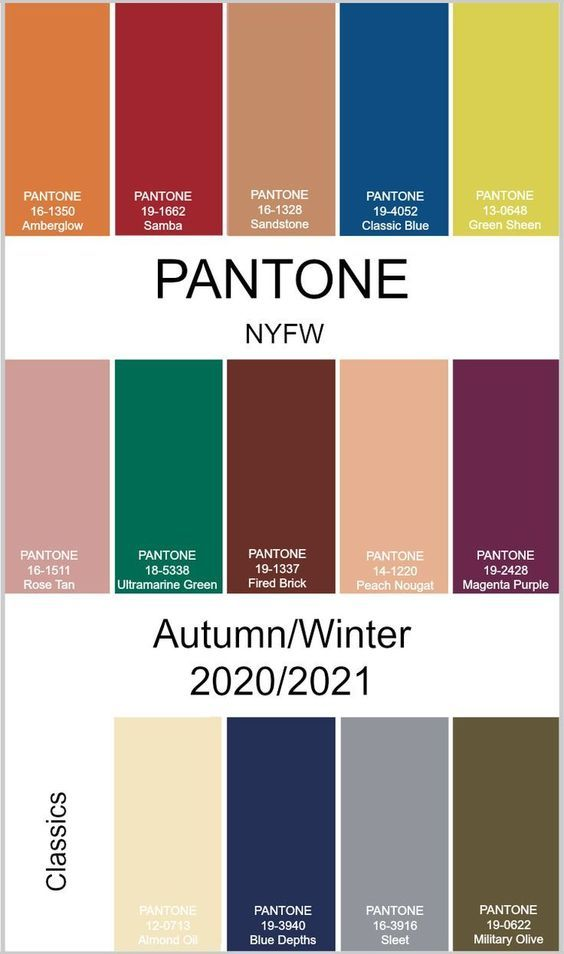 Модные цвета PANTON Осень — Зима 2020/2021